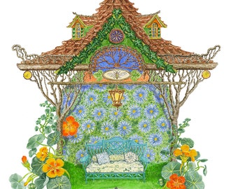 Fairy Summer Tea House Giclee Print