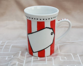 Red striped Cup with customizable label hand-painted