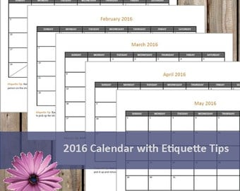 NEW Printable 2016 Monthly Calendar With Etiquette Tips - Printable Calendar - Instant Download