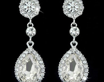 Crystal Tear Drop Chandelier Bridal Earrings, Drop Dangle Earrings, Clear crystal earrings, Wedding Earrings, Bridal Jewellery