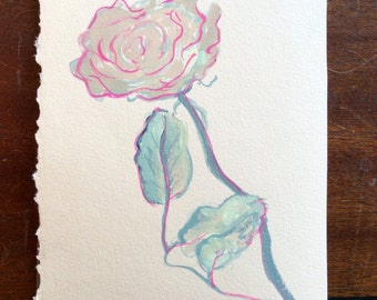 Gouache Rose Painting