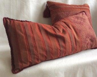 Ethnic Designer Pillow Cover Duo - Rust/Burgundy
