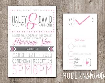 Customize Wedding Invitation Pink Polka Dots