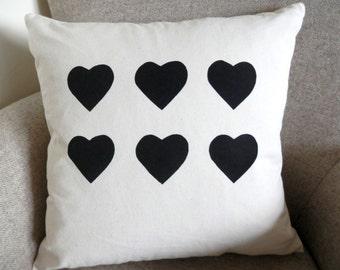 6 heart cushion cover