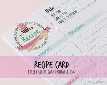Recipe Card, Shower Recipe Card, Kitchen Recipe Card, Instant Download Recipe 4x6