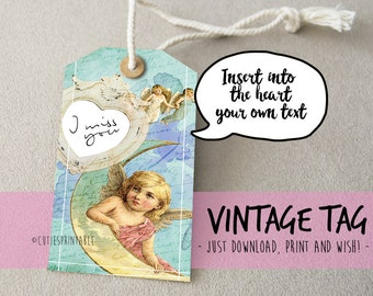 Vintage gift tags Digital collage sheet - Instant printable download / Best for paper craft, scrapbooking - ANGELS