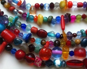 Necklace - Six-Strand - Multi-Coloured - Red Highlights