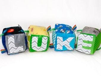 Personalized Fabric Sensory Baby Blocks
