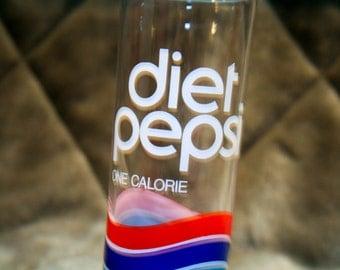 Vintage 80s Diet Pepsi Drinking Glass