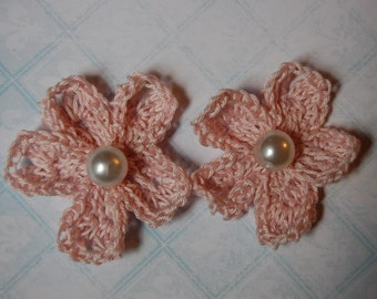 Two Pink Crochet Flowers