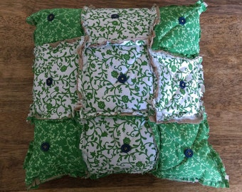 Rag style quilted pillow