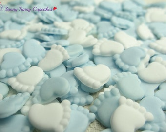 30 Edible baby feet-blue mix cupcake decorations cake toppers sprinkles christening