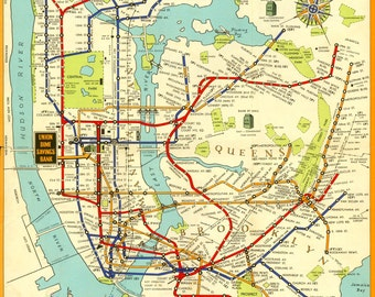 Print of 1948 Art Deco New York City Brooklyn MTA Subway Map