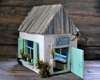 Night light Mint miniature house, wedding gift,kids lamp,bedroom light, provence decor,provence handmade lamp,romantic light,unique gift