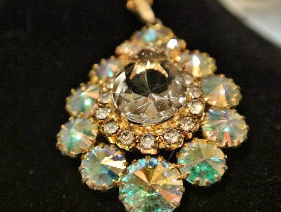 Rhinestone Rivoli Pendant Necklace AB Aurora Borealis Mid Century Vintage Fancy Cut Glass Rhinestones Crystal Teardrop Pear Faceted Center
