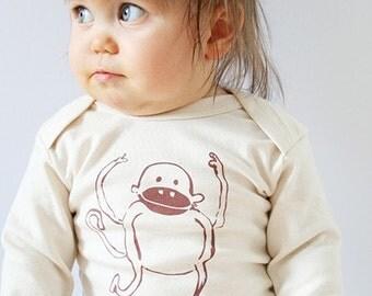 """Kipepeo organic baby body """"Monkey"""" long sleeve"""