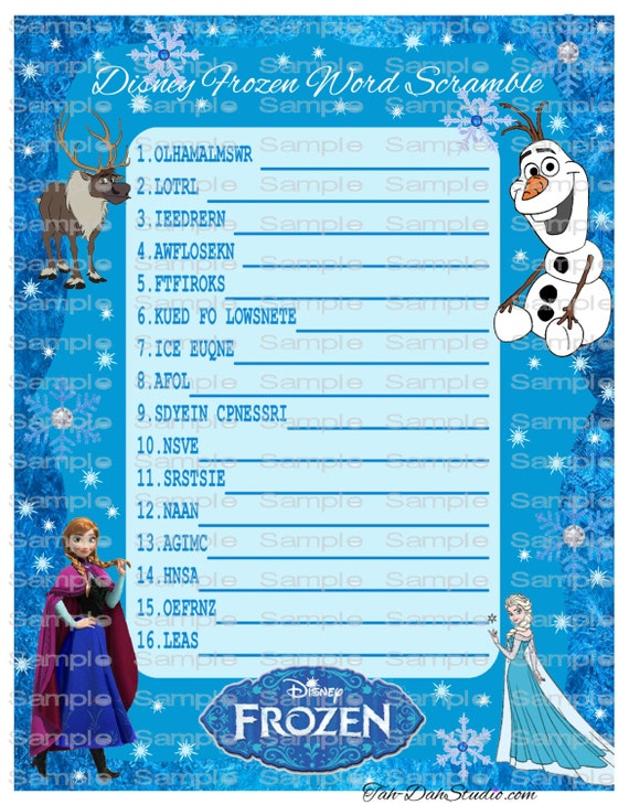 Vibrant image regarding frozen word searches