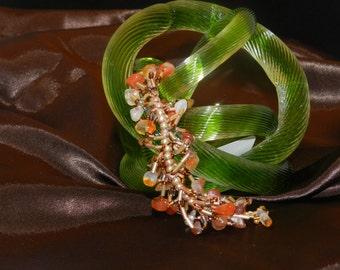 """FT331 Natural Agate Fringe Bracelet, Size  6.5"""""""
