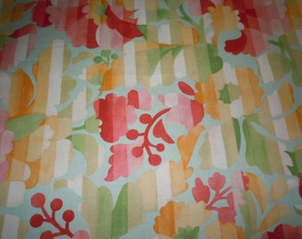 Floral Design of Reds, Coral, Yellows, and Greens by Mimi, Chez Moi for Moda Fabrics, 100% Cotton
