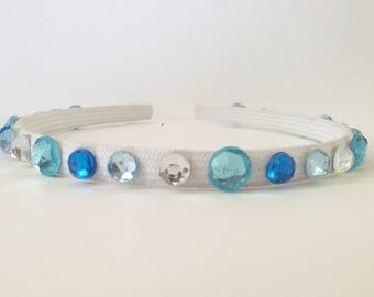 "Blues and White Hard Headband - ""Elsa"""