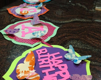 Custom Butterfly Birthday Banner