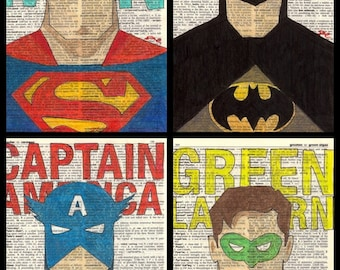 Super Hero, Batman, Superman, Green Lantern, Captain America Prints of drawings on Dictionary paper