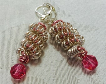 Pink, coiled wire, silver