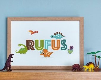 Dinosaurs Themed Personalised Name Print