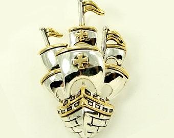 Ship Brooch, Ship Broach, Spanish Galleon Jewelry Component, Pirate Jewelry Brooch, DIY Craft Supply Rhinestone Boat Brooches