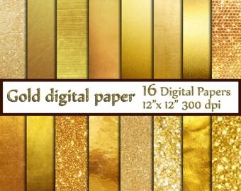 """Gold Foil Digital Paper: """"GOLD DIGITAL PAPER"""" Metallic Gold Digital Paper Gold Paper Gold Backgrounds Digital Gold Foil Paper"""