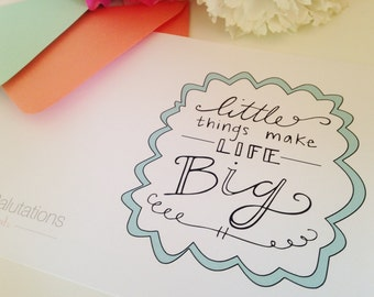 Little Things Make Life Big - Sorority Greeting Card - Sorority Sister Card - Greek Life Greeting Card - Big and Little Card