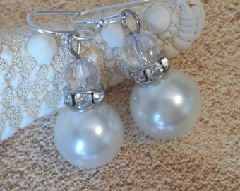Faux pearl and crystal earrings beach earrings beach wedding jewelry destination wedding jewelry beach party wedding earrings wedding gift