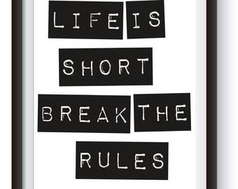 Life is Short Dymo Label printable artwork