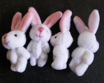 4 White Bunnies Rabbits Charms Pendants Findings K15007