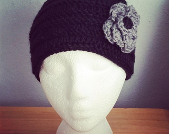 Crochet Adult Beanie (Black with Grey Rose) *any size or colors