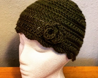 Dark Green Crochet Hat with Rose -any color available