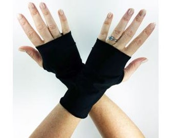 Short Fingerless Gloves in Black Jersey, Hand Warmer, Arm Warmer