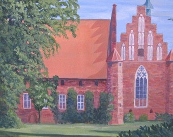 the old convent in Wienhausen Germany/ original painting