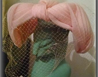 1950's Pink Veil Hat