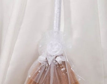 White Decorated Wedding Jump Broom - Jumping Broom Ceremony