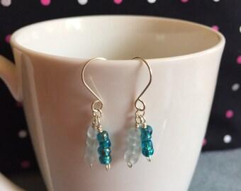 Blue and clear sea glass earrings