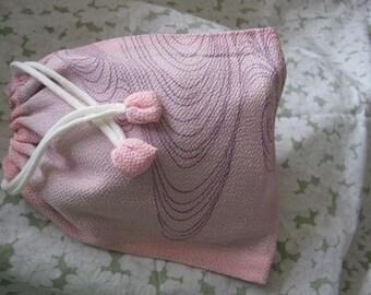 Pink Chirimen Pouch medium