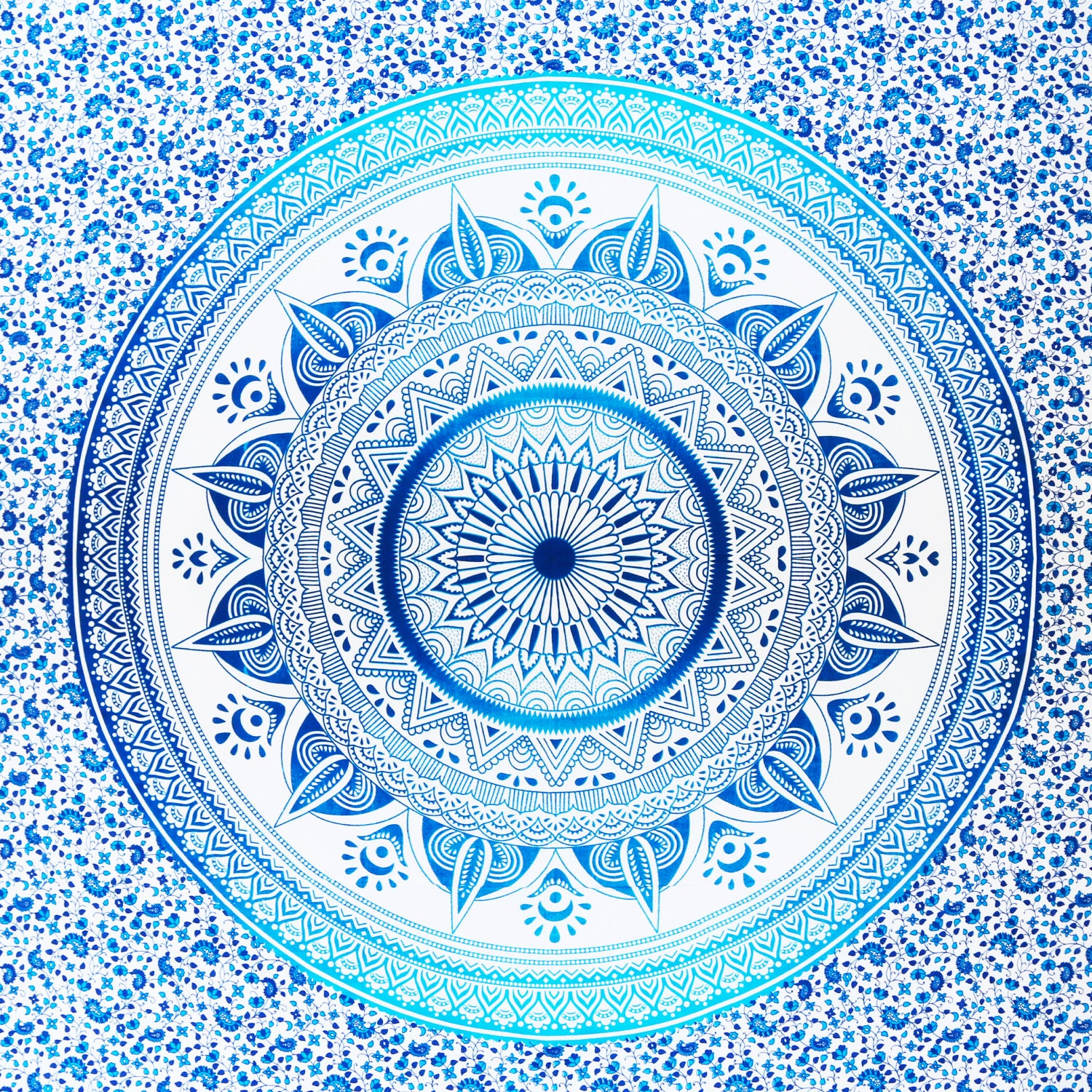 Mandala Tapestry Throw Bedspread Blue Patterned by TIPSYMOON