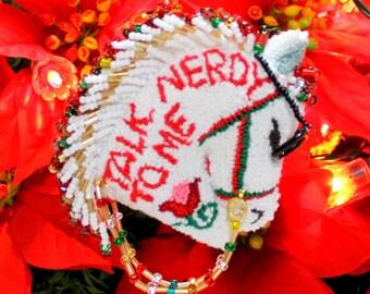 Talk Nerdy To Me Horse, Talk Nerdy To Me, Horse,Horses,Christmas Horse, Horse Ornaments,White Horse,Horse Lovers,