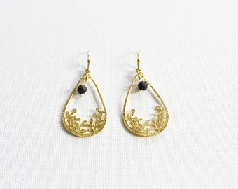 24K Golden plated boho or 925 silver plated chic teardrop shaped earrings with textured little flowers and a black lava bead