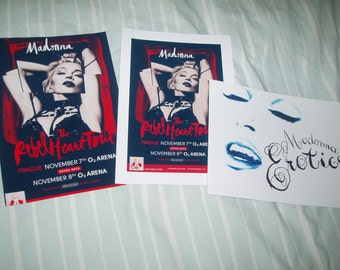 Madonna Rebel Heart Tour Poster A4 Print X2 & Erotica Sticker