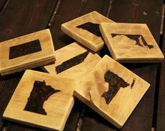 Wooden Coasters, Set of 4, Wood-burned, handmade, State designs