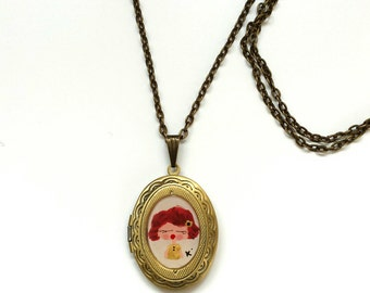 Hand Painted Locket Pendant Necklace