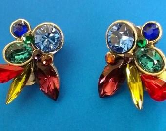 Vintage Chico's Multi-Color Rhinestone Earrings Clip-On