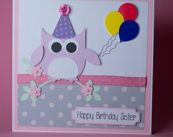 Owl with balloons birthday card, female birthday card, birthday card for her, owl card, owl lover birthday card,owl with party hat & balloon